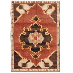 Bold Design Vintage Turkish Rug in Sienna, Brown, Back, Cream and Yellow