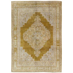 Unique Vintage Oushak Rug in Saturated Gold, Baby Blue and Warm Neutral Colors