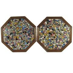 Pair of Antique Octagonal Pique Assiette Memory Ware Decorative Plaques