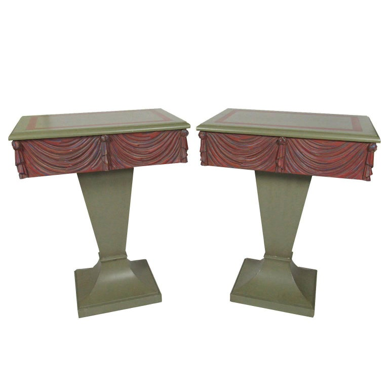 Pair of Mid-Century Neoclassical Style Paint-Decorated Swag-Carved End Tables