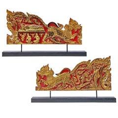 Pair of Thai Rattanakosin-Era Gilded Teak Monk's Throne Side Panels