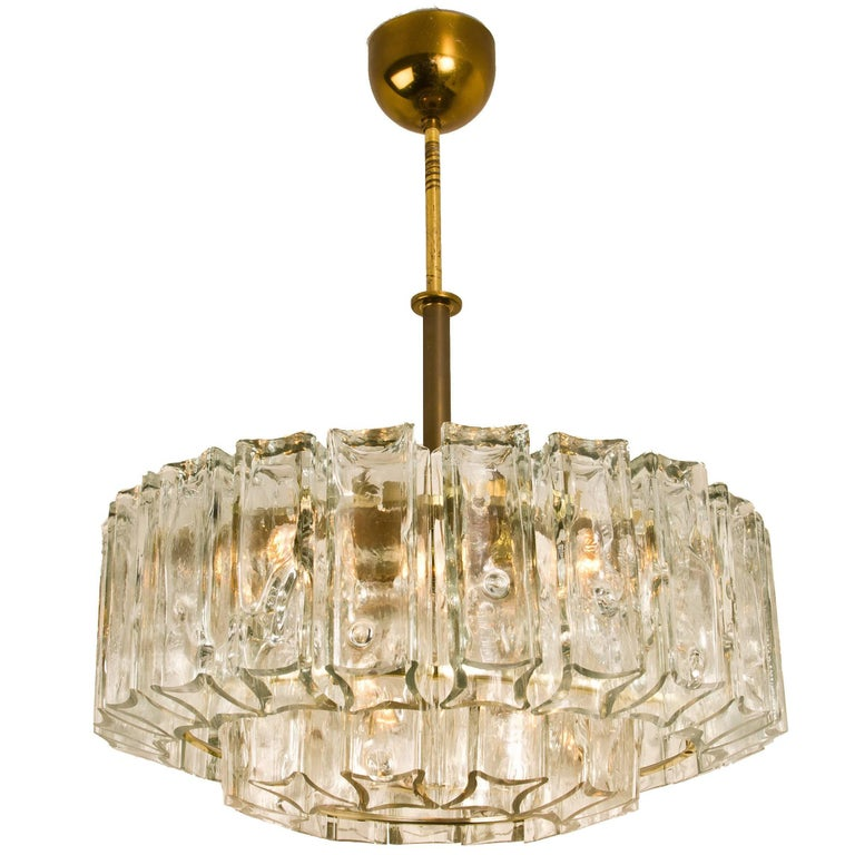 Chandelier Glass And Brass JT Kalmar 1960 For Sale At