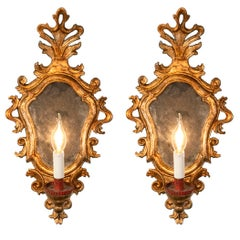 Pair of Italian Louis XV Mirrored Carved Giltwood Wall Sconces circa 1770