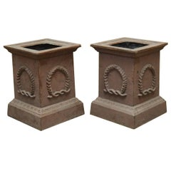 Pair of Neoclassical Cast Iron Square Pedestals or Urns