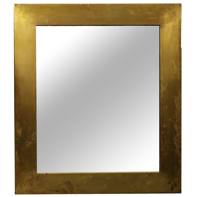 Patinated Brass Mirror  For Sale