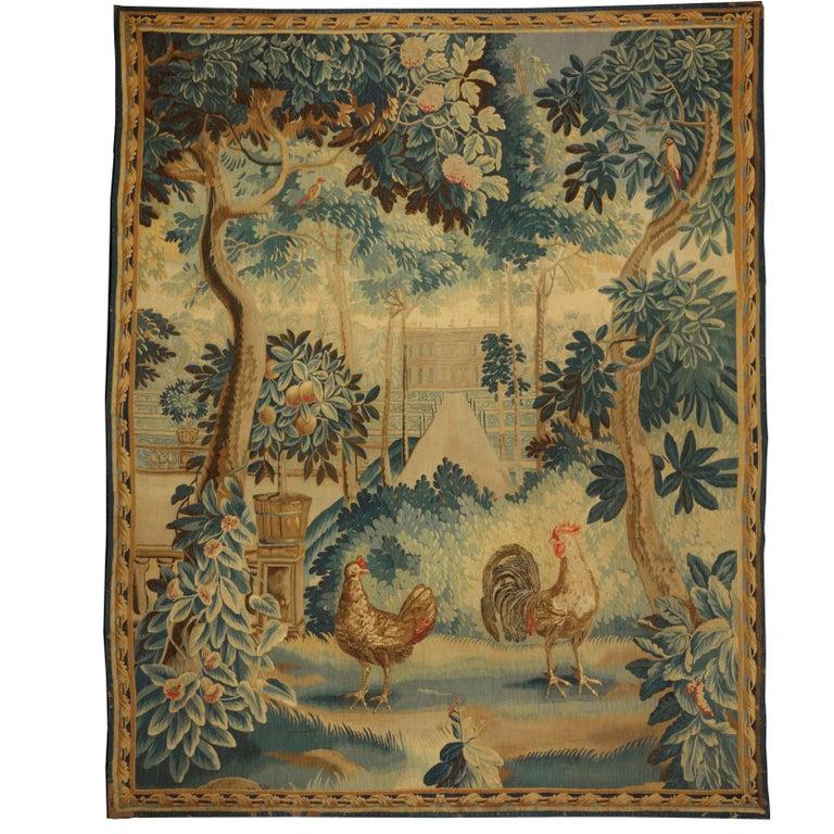 Antique Flemish Garden Landscape Tapestry