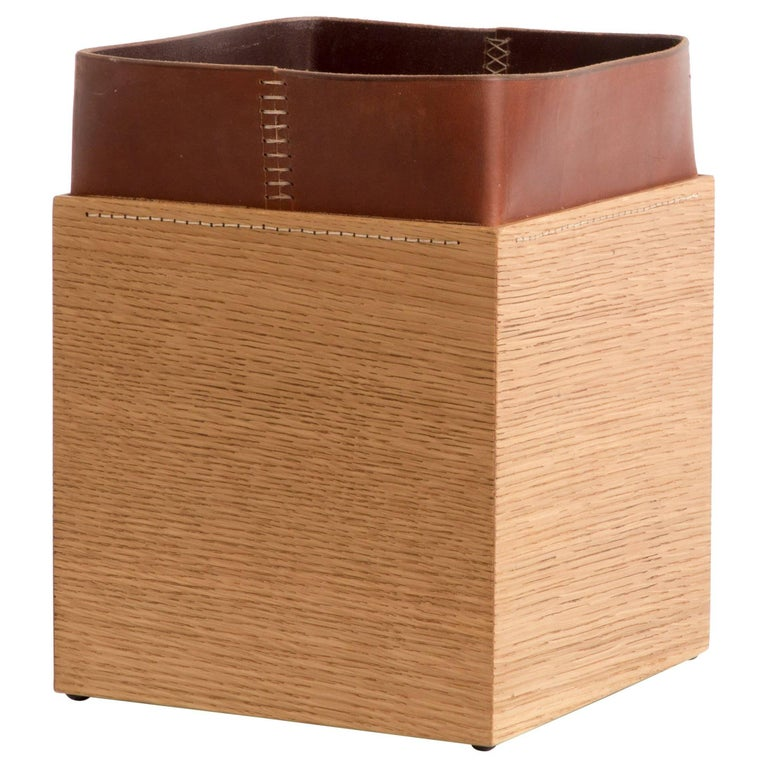 Handmade Leather and Oak Trash Can, Erik Gustafson For Sale