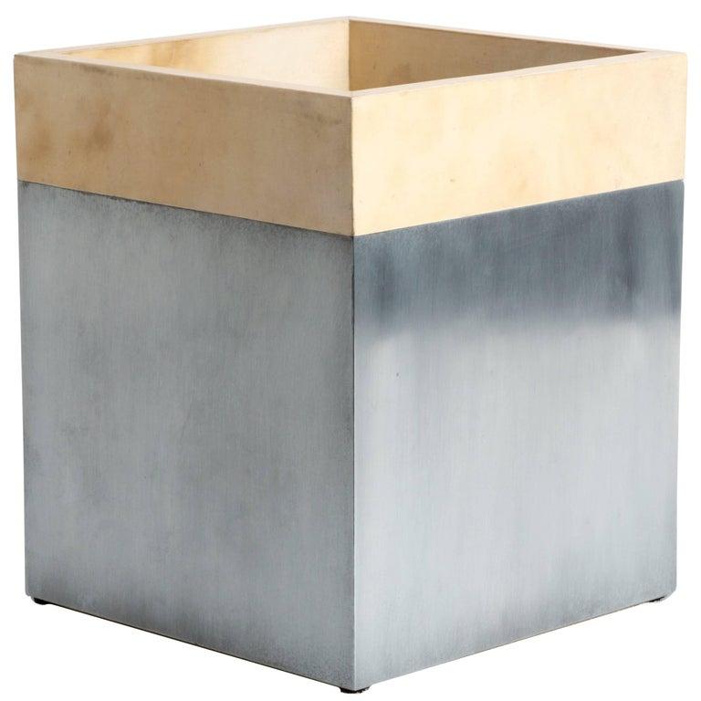 Zinc and Calfskin Trash Can, Erik Gustafson 1