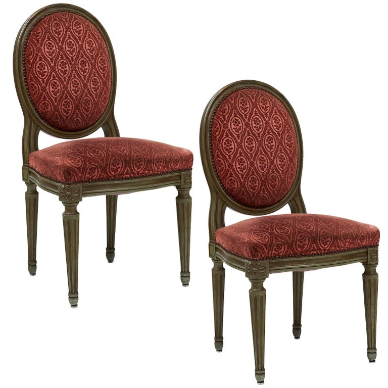 Pair of French Antique Louis XVI Style Medallion Back Chairs For Sale