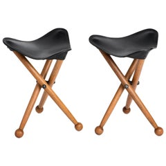 Pair of Sap Wood and Saddle Leather Campaign Stools, Erik Gustafson