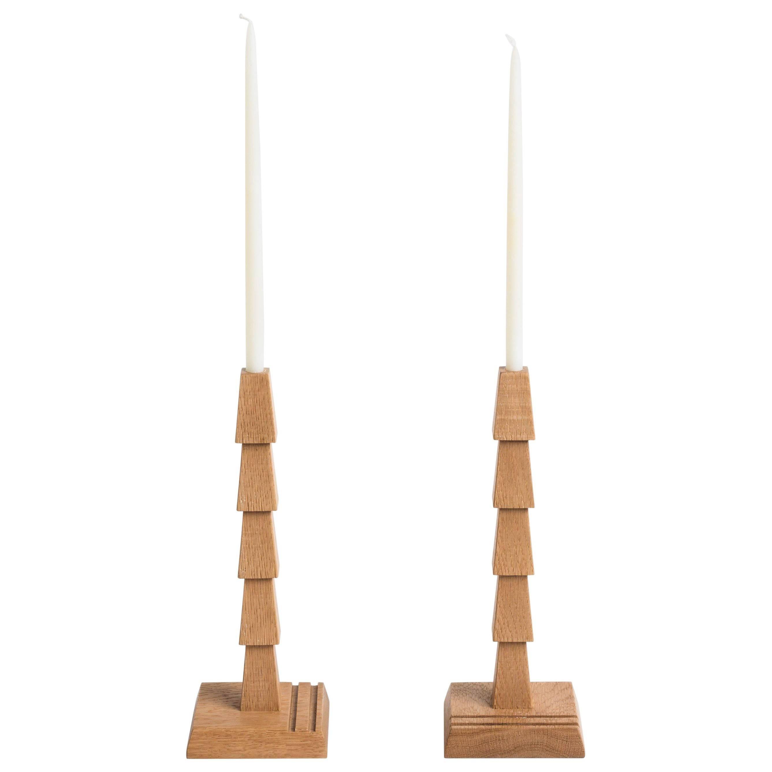 Pair Of White Oak Candlesticks, Erik Gustafson
