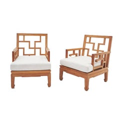Mid-Century Vintage Chinese Chippendale Wooden Teak White Club Chairs, Pair