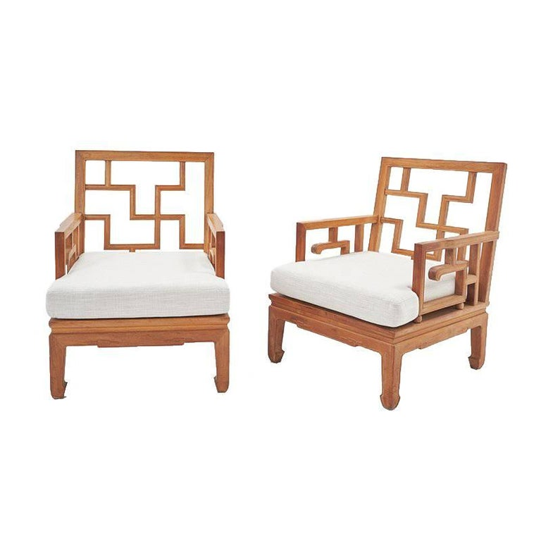 Mid-Century Chinese Chippendale Wooden Teak Indoor / Outdoor Club ...