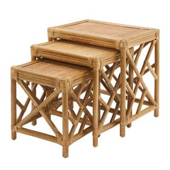 Set of Vintage Woven Natural Rattan Indoor Outdoor Tables
