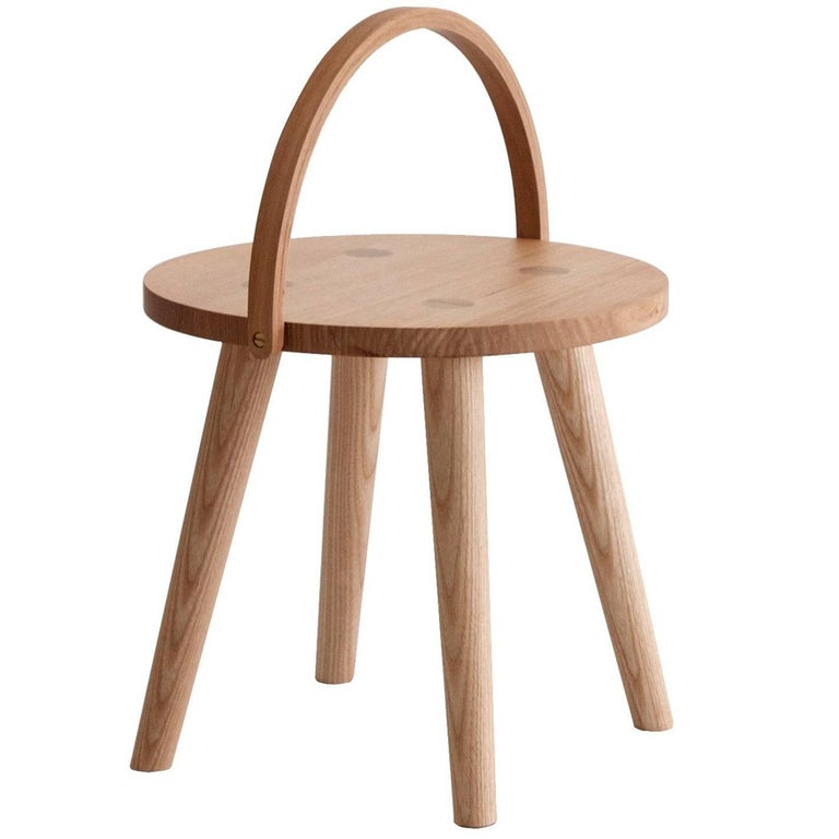 Step Bucket Stool, Low Seat or Side Table with Bentwood Handle in Solid Ash For Sale