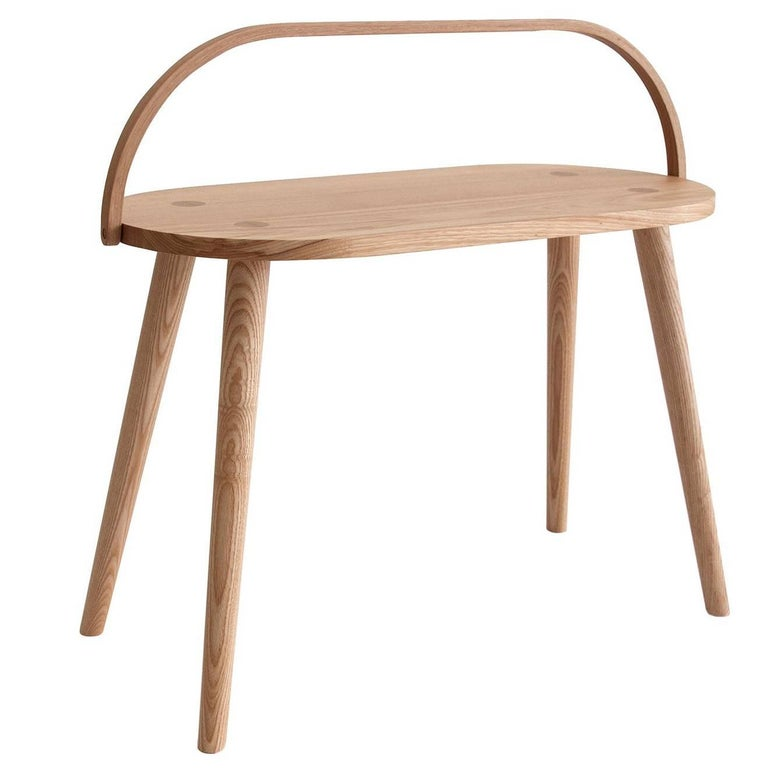 Double Bucket Stool, Wide Side Table or Seat with Bentwood Handle in Solid Ash For Sale