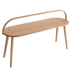 Bucket Bench, Modern Long Side Table or Seat with Bentwood Handle in Solid Ash