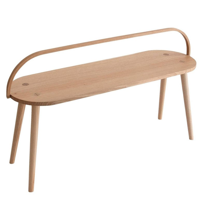 Bucket Bench, Modern Long Side Table or Seat with Bentwood Handle in Solid Ash For Sale