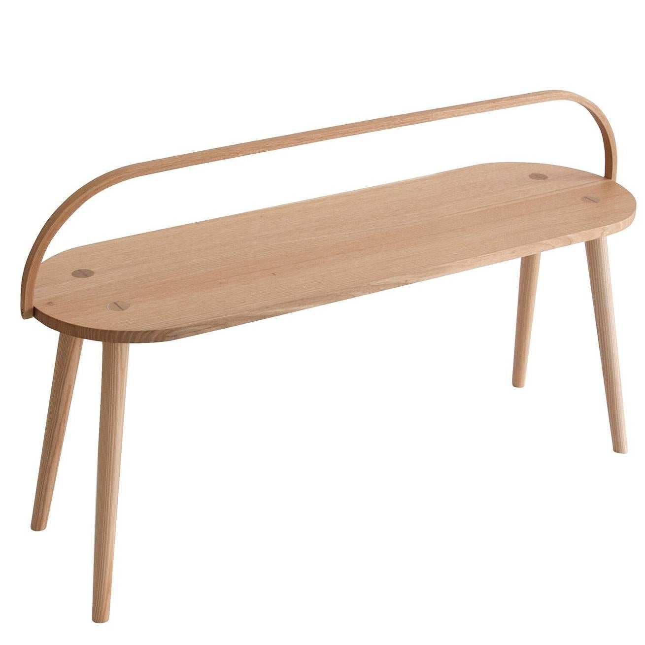Bucket Bench, Modern Long Side Table Or Seat With Bentwood Handle In Solid  Ash For
