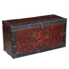 Tibetan Storage Trunk or Box with Gesso Painting of Dragons
