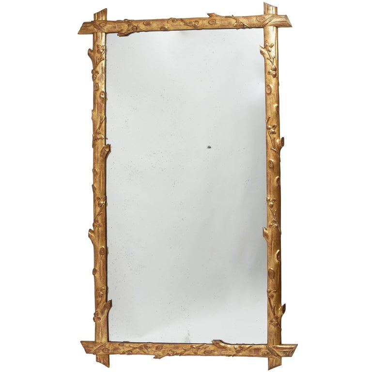 Large French Giltwood 'Faux Bois' Mirror with Original Mirror Plate, circa 1860