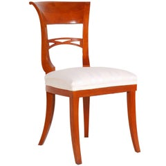 Early 20th Century Biedermeier Chair in Cherrywood Restored and Polished to Wax
