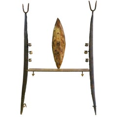 Unique Wall Console / Sculpture in Bronze and Iron by Jean-Jacques Argueyrolles