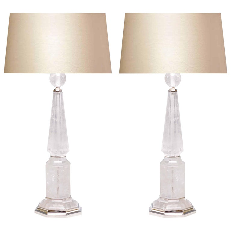 Pair of Elegant Rock Crystal Quartz Table Lamps For Sale