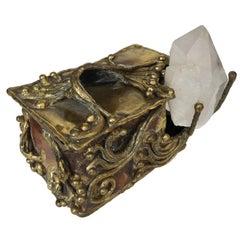 Brutalist Brass Copper and Quartz Crystal Sculptural Box