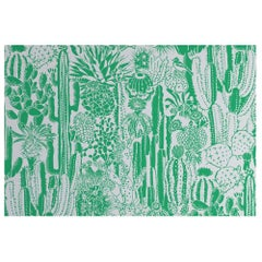 Cactus Spirit Screen Printed Wallpaper in Color Kelly 'Kelly Green on Pale Grey'