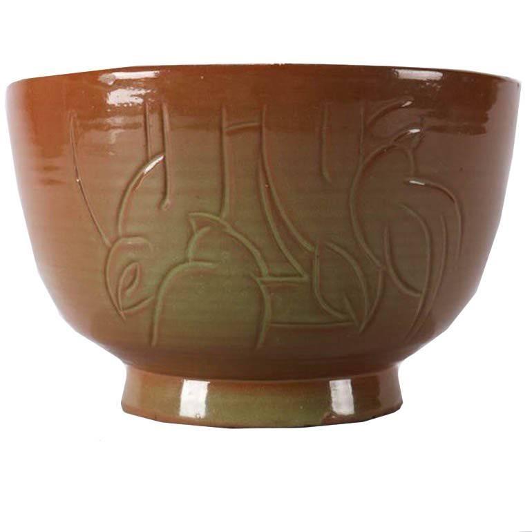 Mid-Century Modern Hand-Thrown Studio Pottery Bird Bowl by Randy Webb