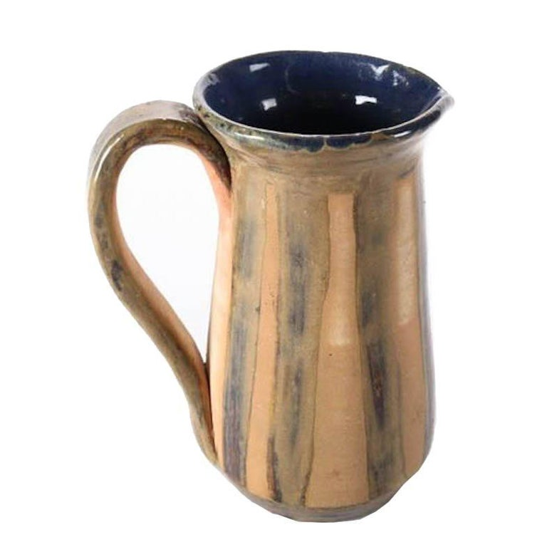 Mid-Century Modern Hand-Thrown and Glazed Studio Pottery Pitcher For Sale