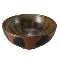 Mid-Century Modern Hand-Thrown Studio Pottery Center Bowl