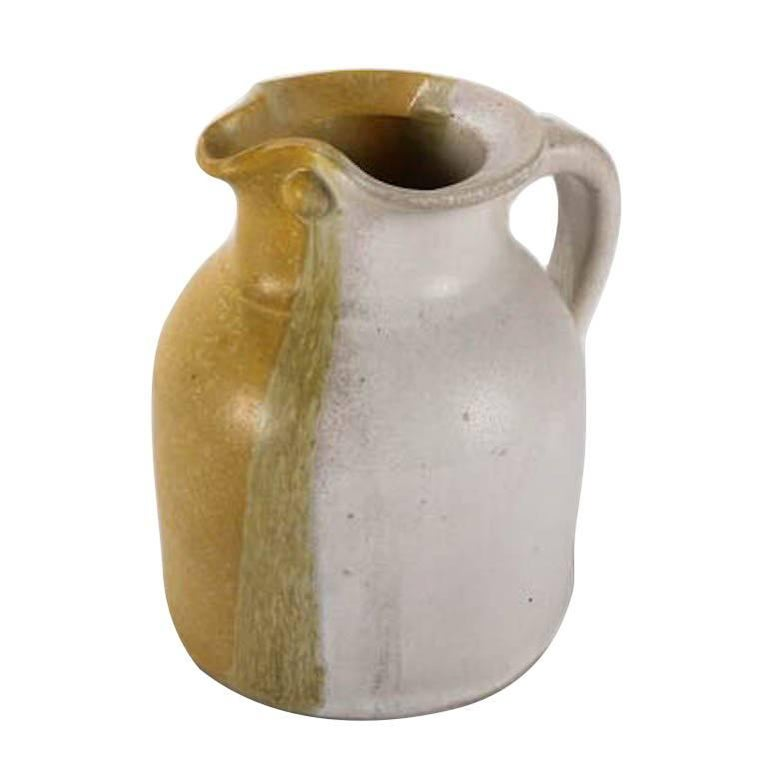 Mid-Century Modern Hand-Thrown Art Pottery Pitcher by T Randall For Sale