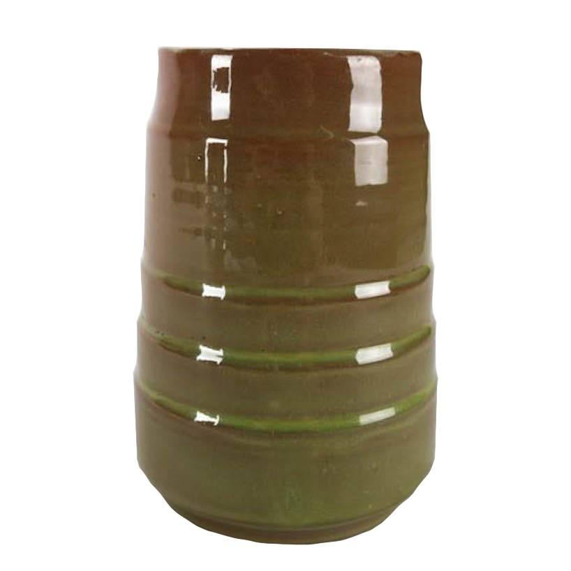 Mid-Century Modern Hand-Thrown and Banded Art Pottery Vessel by Randy Webb