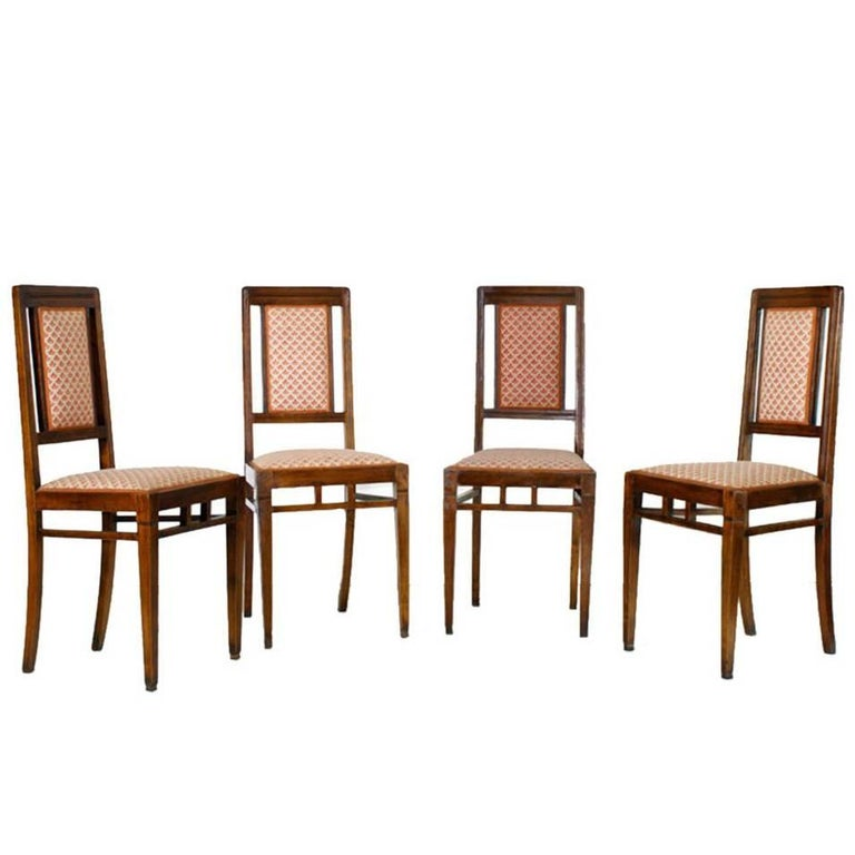 Early 20th Century Set Four Chairs Art Nouveau in Walnut, Original Upholstery