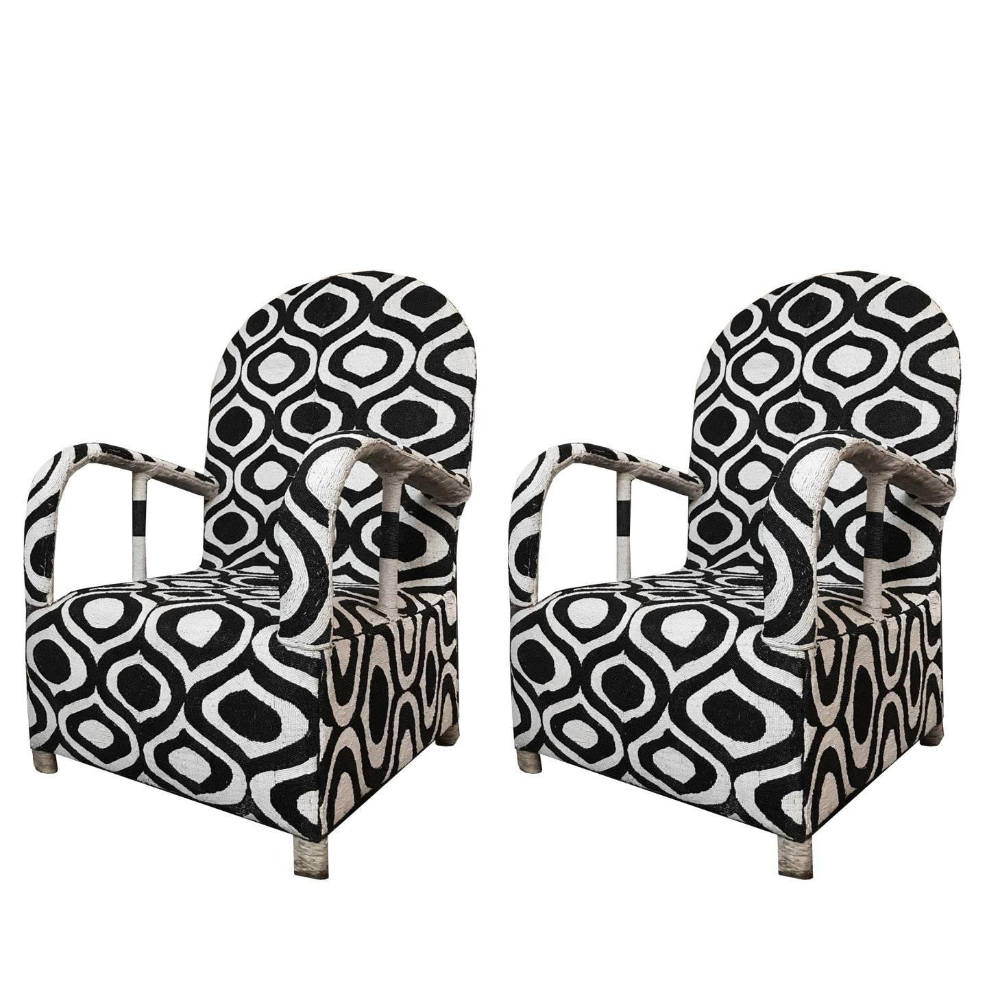 Pair Of Black And White African Hand Beaded Nigerian Yoruba Tribal  Armchairs For Sale