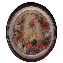 Victorian Floral Wool Work Wreath in Deep Walnut Shadow Box, 19th Century