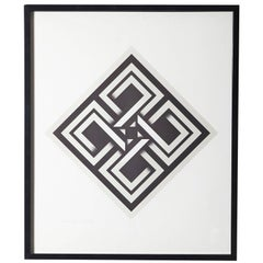 Omar Rayo, Geometric Abstract Black and White Lithograph, Titled, Xaphan