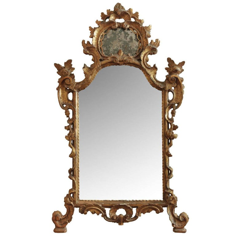 18th Century Italian Rococo Wood Carved Mirror