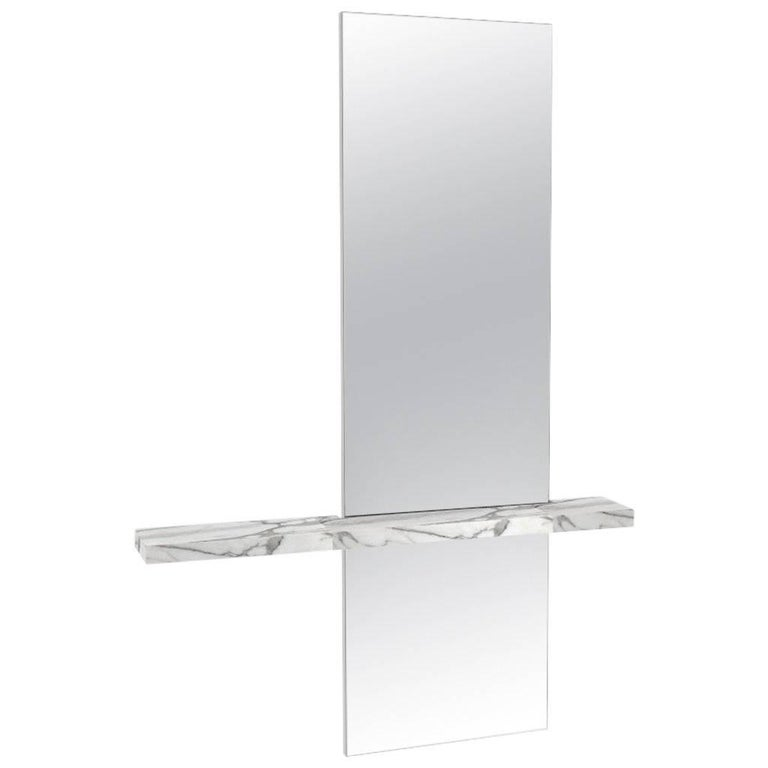Sculptural Edgewater Minimal Contemporary Mirror with Carrara Marble Shelf For Sale