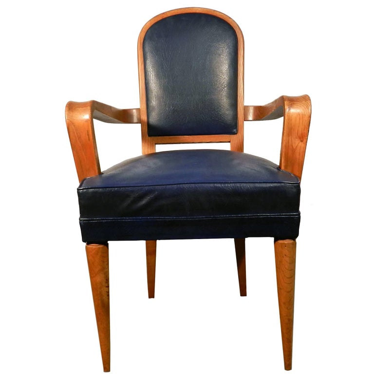 Art Deco Desk Armchair in Elm and Faux-Leather Attributed to Batistin Spade