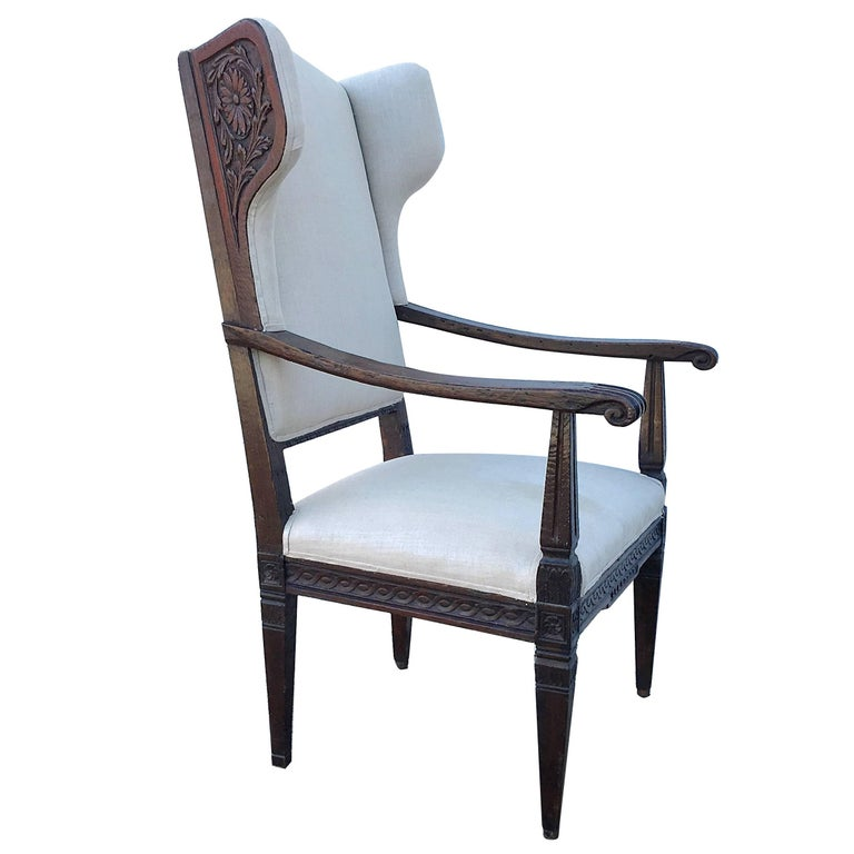 18th Century Italian Wing Chair For Sale