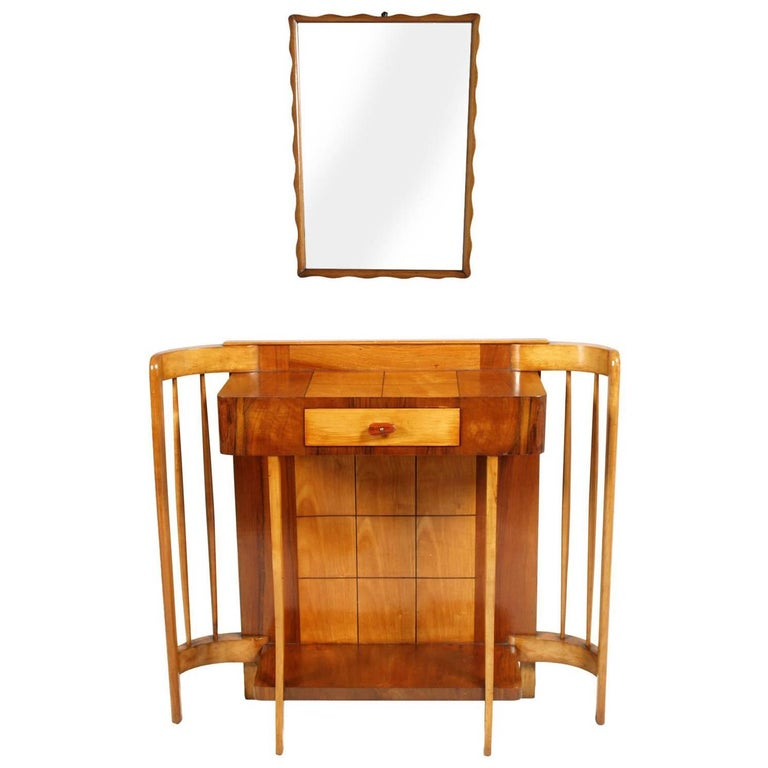 Art Deco Console Mirror, Paolo Buffa Attributable, Restored and Polished to Wax