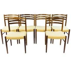 Six Danish Midcentury Rosewood Dining Chairs