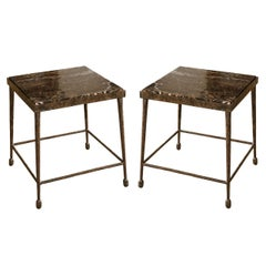 Organic Modern Giacometti Style Iron and Stone Side Table