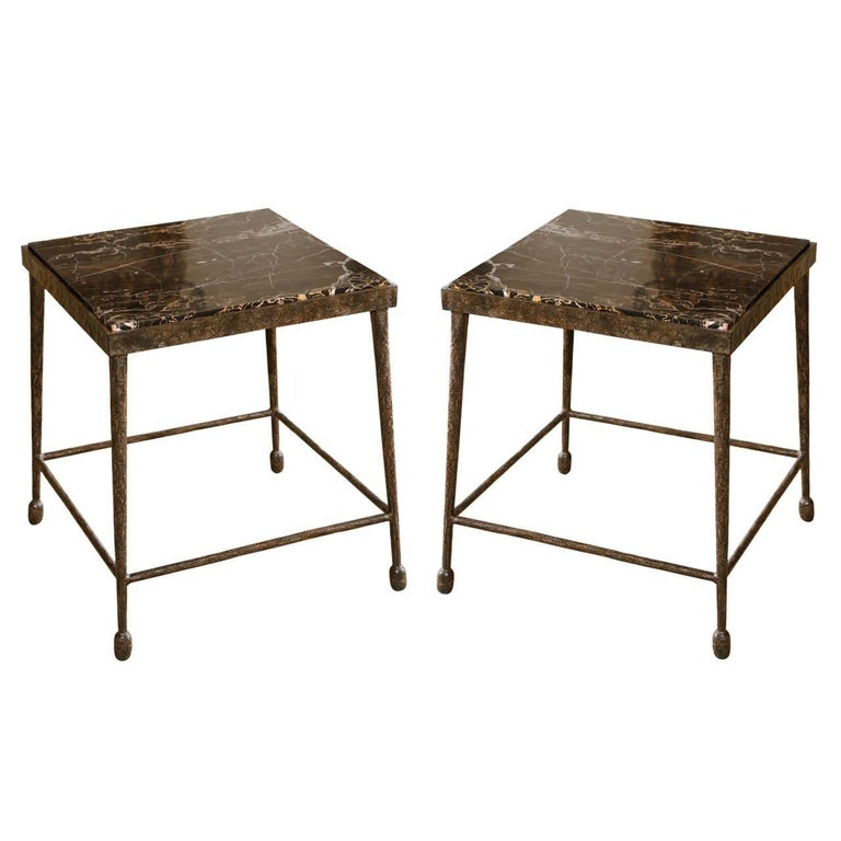 Organic Modern Giacometti Style Iron and Stone Side Table For Sale