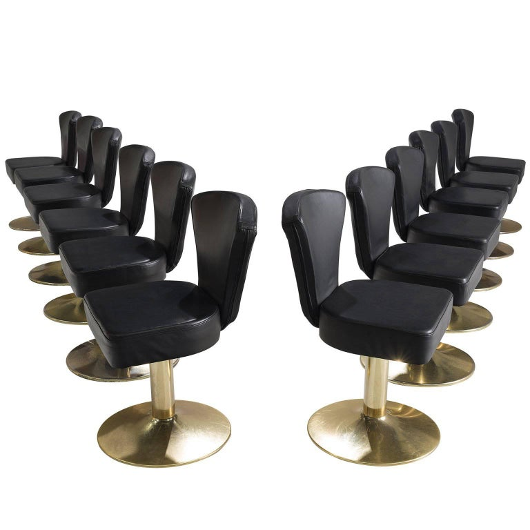 Set Of 12 Florence Stools In Black Faux Leather For Sale