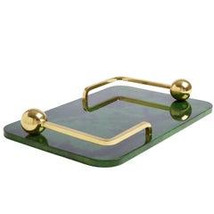 Trocadero Lacquered Goatskin Tray in Jade