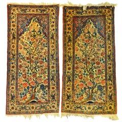 Rare Pair of Antique Lavar Kerman Persian 'Tree of Life' Prayer Carpets